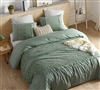 Cozy Cotton and Thick Inner Fill Oversized King Comforter in Unique Green Shade with Textured Detailing
