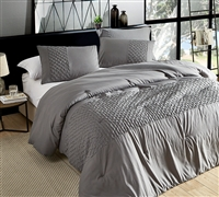 Easy to Match Gray with Stylish Textured Design Oversized King Comforter with Coziest Microfiber Material