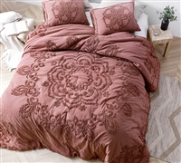 Unique Burgundy Oversized Twin XL Comforter with Textured Mandala Sunset Design and Soft Cotton