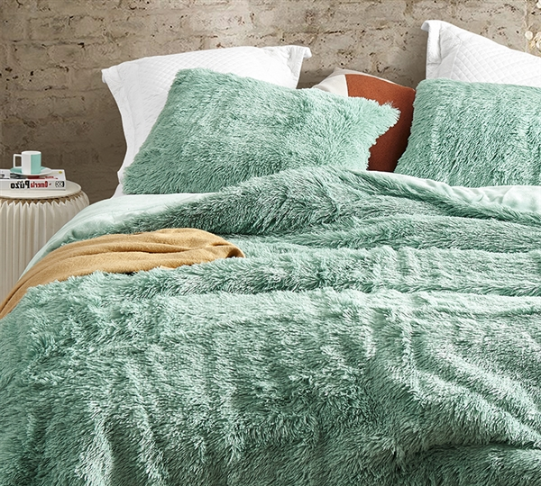 Essential Duvet Cover for Extra Long and Extra Wide Twin Comforter Duck Egg Green Plush Twin Bedding