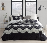 Black Extra Large King Duvet Cover with Super Soft Cotton and Stylish Gray Patchwork Pattern Detailing