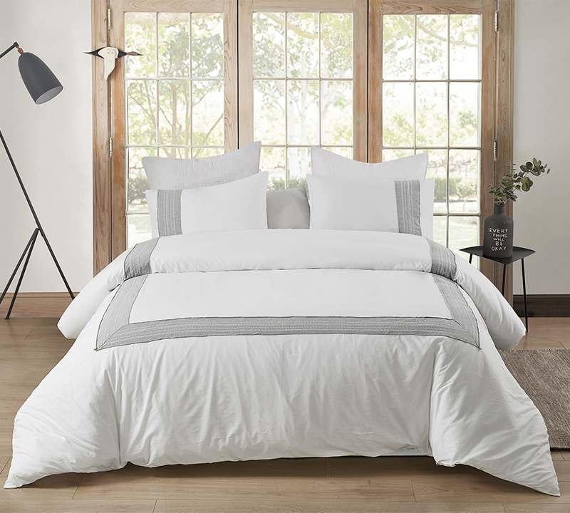 Coziest White Cotton with Fashionable Gray Border Design Extra