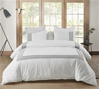Easy to Match White Oversized White Twin XL Duvet Cover with Stylish Gray Border Design and Cozy Cotton
