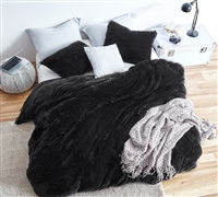 Extra Large Twin or Queen or King Duvet Cover with Coziest Luxury Plush Material and Easy to Match Black Color