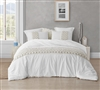 Oversized Twin XL Duvet Cover in Stylish Machine Washable White with Textured Weaving Details