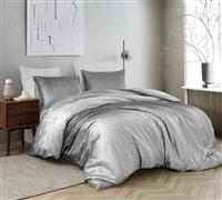 Coma Inducer Queen Duvet Cover - Ombre Velvet Crush - Light Gray/Dark Gray