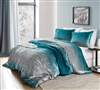 Thick Plush and Super Soft Cotton Oversized Twin XL Duvet Cover in Unique Silver and Teal Ombre Design