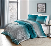 Coma Inducer Queen Duvet Cover - Ombre Velvet Crush - Ocean Depths Teal/Silver Gray