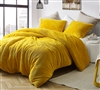 Thick Luxury Plush King Duvet Cover in Unique Warm Ochre Yellow Shade with Teddy Bear-Like Material