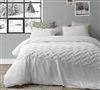 Super Soft Cotton Oversized King Duvet Cover in Easy to Match White Shade with Textured Details