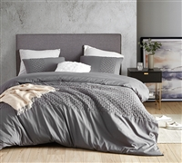 Cozy Microfiber Material Stylish Easy to Match Gray Textured Design Queen XL Duvet Cover