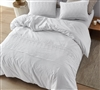 Oversized XL Queen White Duvet Cover with Stylish White Floral Pattern that is Easy to Clean and Machine Washable