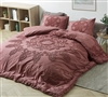 Extra Large Stylish Burgundy Queen XL Duvet Cover with Unique Textured Decorative Pattern