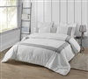 Extra Large King Comforter in Easy to Match Sleek White with Stylish Gray Embroidered Border Design