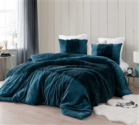 Coziest Luxury Plush Extra Large Twin, Queen, or King Comforter with Stylish Fur Detailing