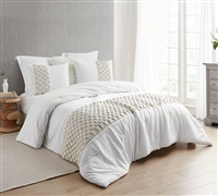 Oversized Textured Design Easy to Match Cream Colored Twin XL Comforter with Extra Large Size