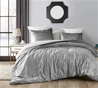 Extra Large Twin, Queen, or King Comforter in Fashionable Gray Ombre Design and Crushed Velvet