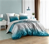 Extra Large Twin, Queen, or King Comforter with Soft Cotton and Velvet in Silver/Teal
