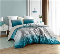 Coma Inducer Oversized Queen Comforter - Ombre Velvet Crush - Ocean Depths Teal/Silver Gray