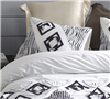 Easy to Wash White Cotton Standard Pillow Sham Set with Unique Textured Navy Gray Details 2-Pack
