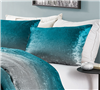 Velvet Plush Pillow Covers for Twin, Full, or Queen Sized Bed with Teal and Gray Ombre Design