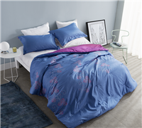 One of a Kind Oversized Full XL Comforter Sesta Paz Pink Flowers on Blue Backdrop Stylish Full XL Bedding