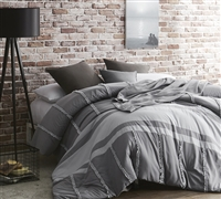 Oversized Twin Extra Long Comforter Gray Dual Tone Extended Twin XL Bedding Handcrafted Series Linear Ruffles