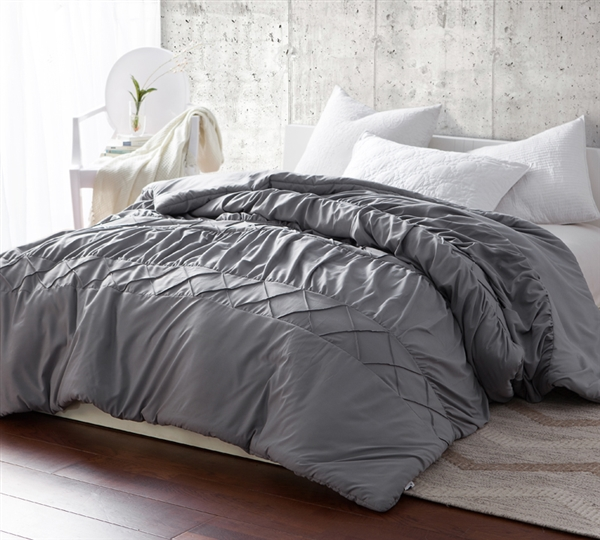 Handcrafted Neutral Gray Queen XL Comforter with Stylish Wave Textured Material and Extra Cozy Microfiber