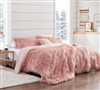 Twin, Queen, or King Oversized Bedspread Faux Fur Plush Comforter with Beautiful Pink Coloring
