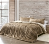 Extra Large Brown King Comforter Set with Long Faux Fur Front and Short Faux Mink Reverse for Ultra Cozy King Bedding