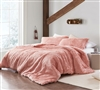 Super Soft Plush Coma Inducer Pink Queen Oversized Comforter with Standard/Queen Pillow Shams
