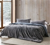 Extra Long and Extra Wide Queen Plush Comforter Gray XL Queen Bedding with Classic Stripe Design