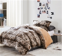 Chillin Cheetah Print Faux Fur Animal Print Extra Large Twin Comforter and Matching Standard Pillow Sham