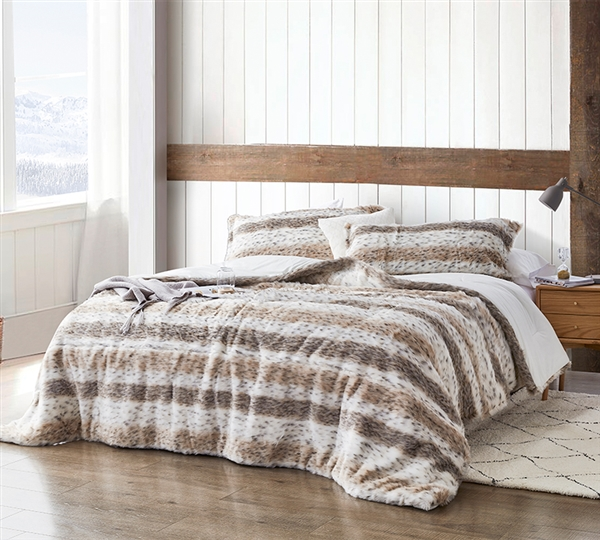 Soft and Stylish King Extra Large Comforter and King Sham Set with Stripe and Spot Animal Print Pattern
