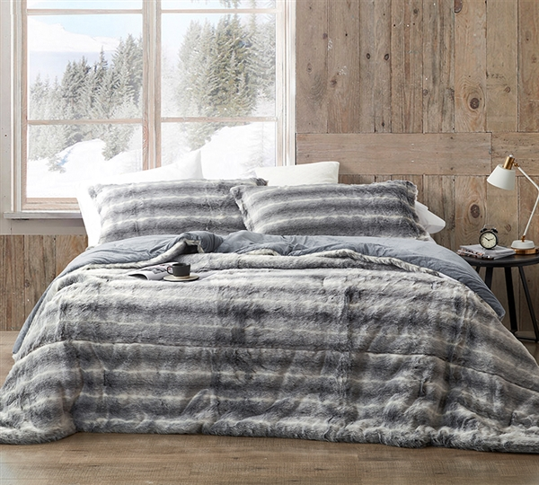 Soft Plush King Oversized Bedspread Set Striped Gray King Extra Large Bedding Made with Faux Mink Material
