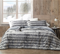 Must Have Gray Twin, Queen, or King Oversized Bedding Set Faux Mink Extra Large Comforter and Shams