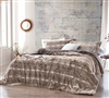 Neutral Brown and White Queen Oversized Comforter Set Made with Warm and Cozy Plush Faux Fur