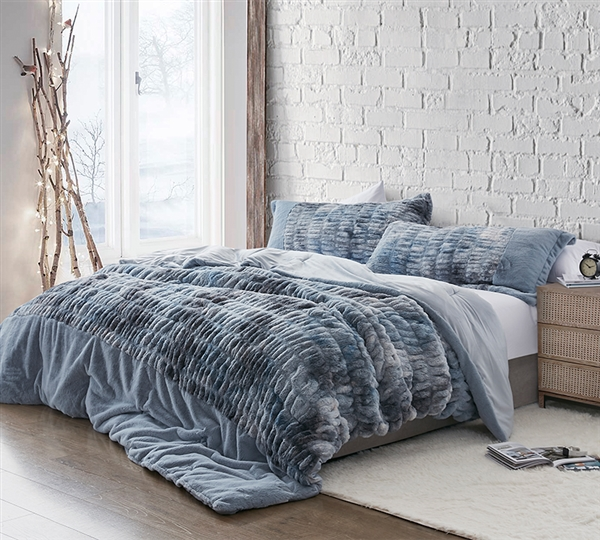 Extra Thick Twin, Queen, or King Extra Large Bedding Blue and Gray Oversized Twin, Queen, or King Plush Comforter