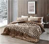 Faux Fur Twin Extra Large Comforter and Matching White and Brown Standard Pillow Sham