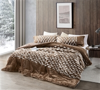 Extra Large Twin, Queen, or King Plush Comforter Set Soft Coma Inducer Brown and White Bedding Set
