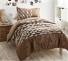 Brown Twin Oversized Comforter Set with Tufted White Design and Matching Standard Pillow Sham