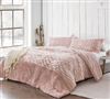 True Oversized King Bedding Set Pink and White Plush King Extra Large Comforter with King Pillow Shams
