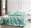 Plush Queen Oversized Bedspread Stylish Ocean Green Made with Faux Fur and Faux Mink Bedding Material