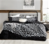 Ultra Soft Black Plush Comforter with Oversized King Bedding Dimensions and White Jacquard Accents