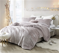 Champagne Pink Oversized King Comforter with Soft Sherpa and Plush Velvet Material