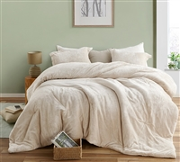 Extra Large Twin, Queen, or King Comforter in Easy to Match Cream Shade with Cozy Luxury Plush Material