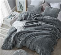Warm Luxury Plush Oversized King Comforter with Soft Matching Shams and Stylish Steel Gray Color