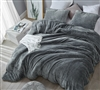 Fluffy Extra Large Queen Comforter in Stylish Neutral Gray and Soft Thick Luxury Plush Material