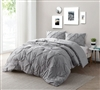Affordable Twin XL, Full, Queen, and King Bedding Super Soft Oversize Alloy Gray Comforter Stylish Pin Tuck Design