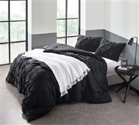 Oversized Comforter - Black Pin Tuck Soft Bedding